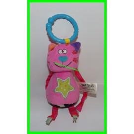 Jeu de poussette ou de transat / Chat rose à accrocher avec grelot Taf Toys
