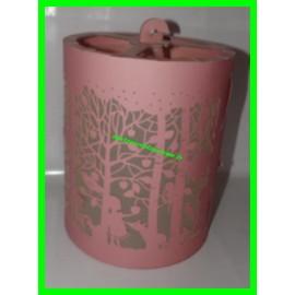 Lanterne / Suspension cylindre en papier ajouré motifs Dans la forêt rose diamètre 20 cm Little Big Room Djeco