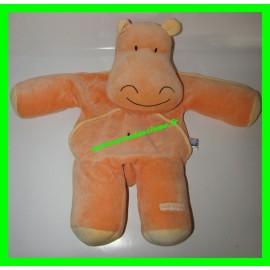 Peluche / Doudou range-pyjama hippopotame orange Sucre d'Orge