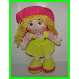 Poupée de chiffon en tissu blonde rose et jaune