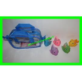 Lot 5 poissons pour le bain + sac de rangement bleu