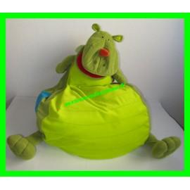 Gros pouf / dragon en peluche vert Walter Littiputiens 86165 (manque la baguette magique)