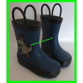 Bottes de pluie en caoutchouc P. 23 bleues et bleu marine à rayures avec anses DPAM