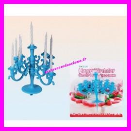 Chandelier / Bougeoir pour gâteau d'anniversaire + 9 bougies