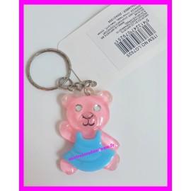 Porte-clés ourson rose ou violet à paillettes