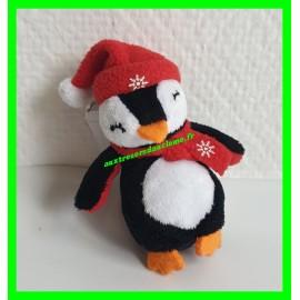 Mini peluche porte-clef pingouin de Noël
