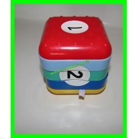 Cube éducatif à empiler avec jeux d'éveil dont boulier et horloge