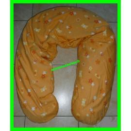 Coussin d'allaitement / de maternité orange fleurs et papillons