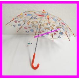 Parapluie rouge transparent à motifs enfants Entre Temps