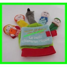 Livre en tissus / Marionettes Raconte une histoire avec les doigts Le petit Chaperon rouge