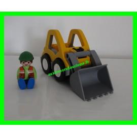 Playmobil 1.2.3 Chargeur et Ouvrier 6775 (manquent les accessoires)