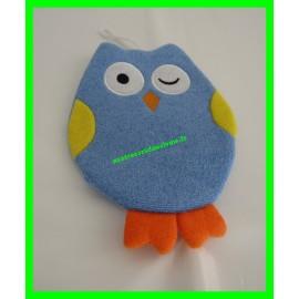 Gant marionnette bleu chouette