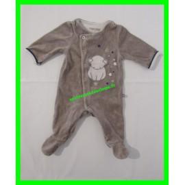 Pyjama 1 mois / 54 cm gris Obaïbi