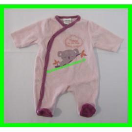 Pyjama 1 mois / 54 cm rose Mots d'Enfants