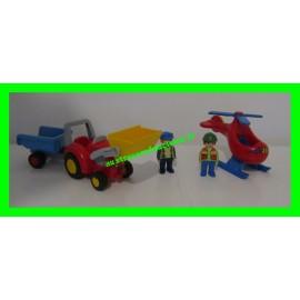 Lot Playmobil 1.2.3 avec tractopelle rouge et jaune + remorque bleue + hélicoptère de pompier + 2 personnages