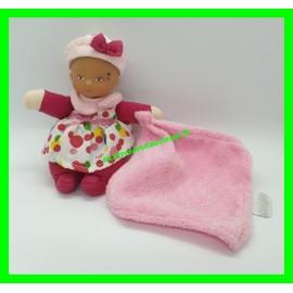 Mini poupée Corolle pois multicolores avec doudou mouchoir rose