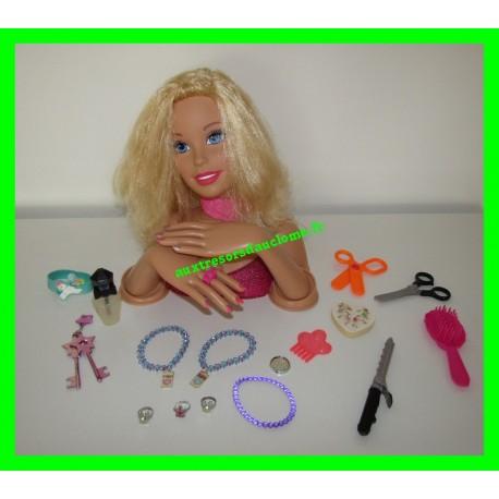 Tête à coiffer blonde + bijoux + accessoires