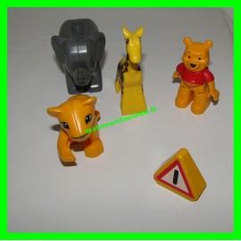 Lot de 3 animaux + 1 personnage Winni l'Ourson + 1 panneau de signalisation Lego Duplo