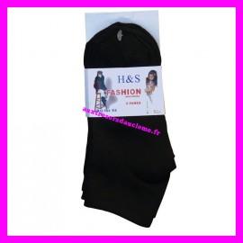 Lot 3 paires de chaussettes invisibles noires P. 21-26