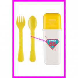 Boîte à couverts avec fourchette et cuillère Tom & Zoé