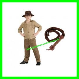 Coffret costume / Déguisement 3 pièces Indiana Jones taille S 3-4 ans + fouet sonore électronique
